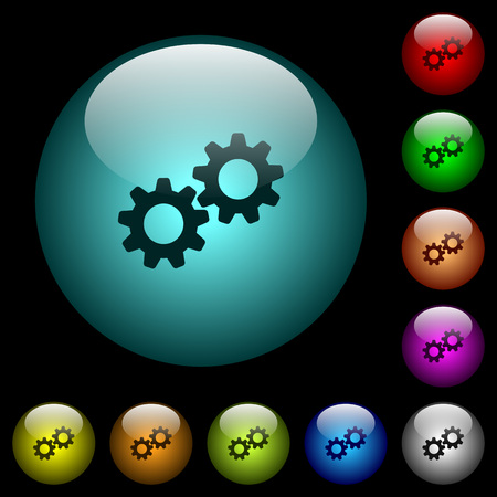 Collaboration icons in color illuminated spherical glass buttons on black background. Can be used to black or dark templates