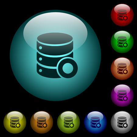 Database macro record icons in color illuminated spherical glass buttons on black background. Can be used to black or dark templates