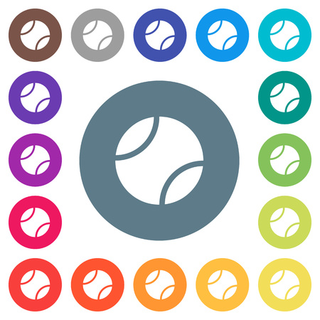 Tennis ball flat white icons on round color backgrounds. 17 background color variations are included.