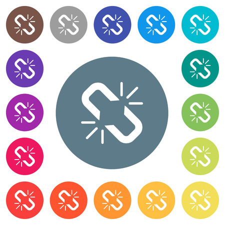 Unlink flat white icons on round color backgrounds. 17 background color variations are included.