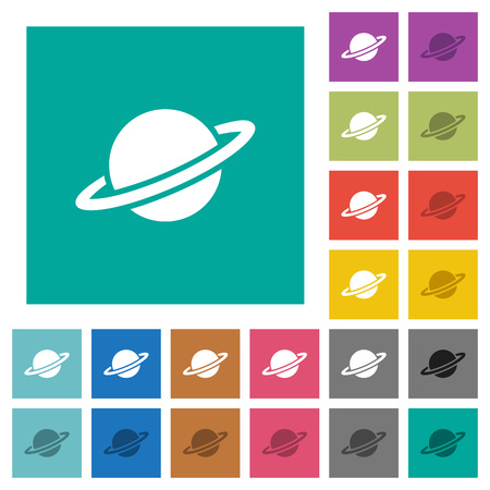 Planet multi colored flat icons on plain square backgrounds. Included white and darker icon variations for hover or active effects.