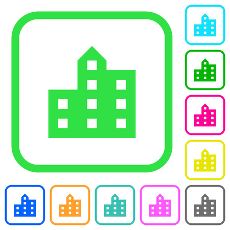 City silhouette vivid colored flat icons in curved borders on white background