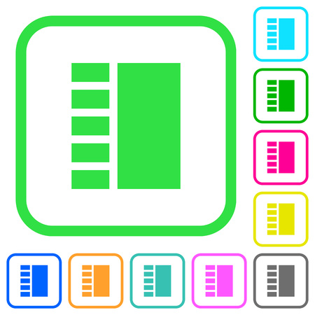 Vertical tabbed layout vivid colored flat icons in curved borders on white background Illustration