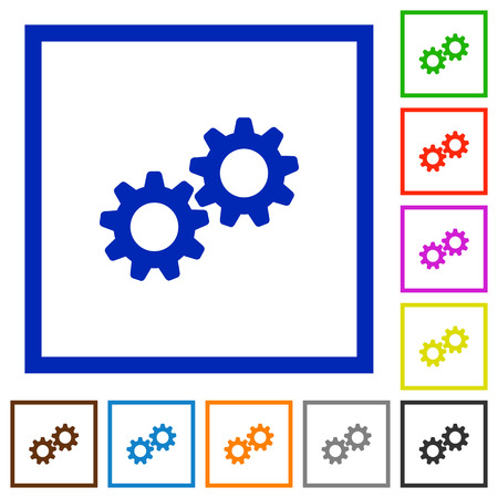 Collaboration flat color icons in square frames on white background