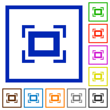 Full screen flat color icons in square frames on white background