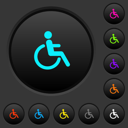 Disability dark push buttons with vivid color icons on dark grey background Ilustrace