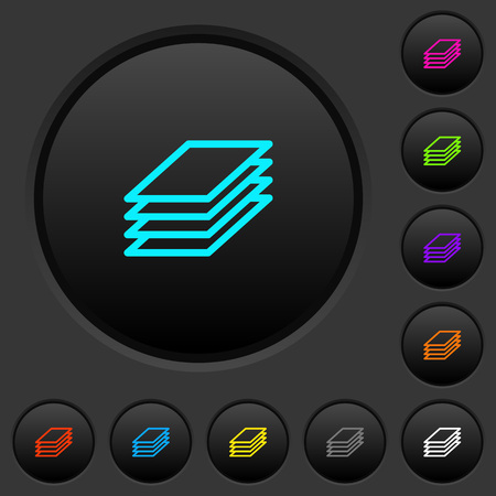 Printing papers dark push buttons with vivid color icons on dark grey background