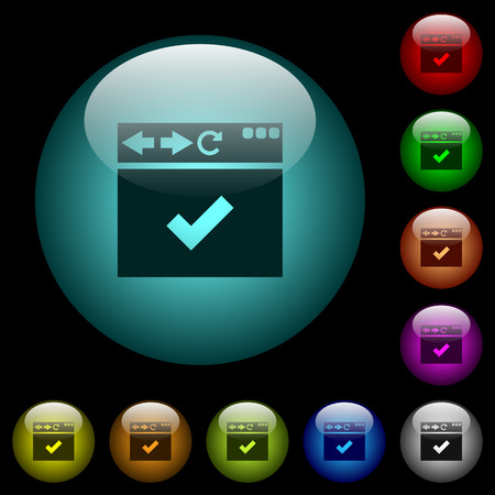 Browser ok icons in color illuminated spherical glass buttons on black background. Can be used to black or dark templates 일러스트