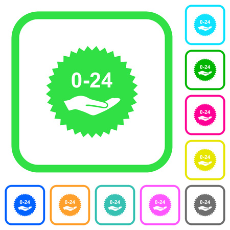 24 hours service sticker vivid colored flat icons in curved borders on white background Ilustrace