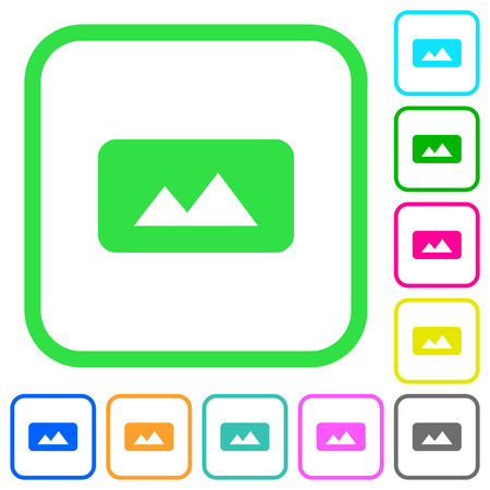 Panorama picture vivid colored flat icons in curved borders on white background 일러스트