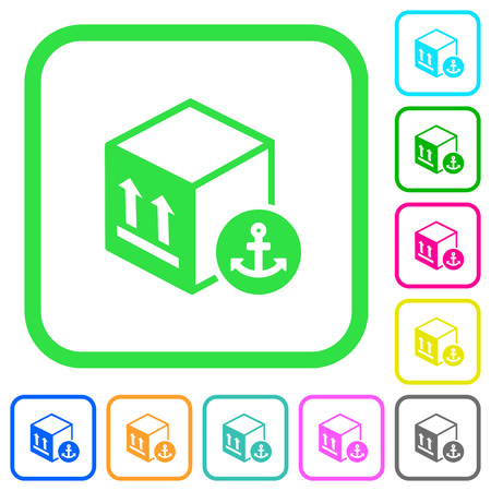 Sea package transportation vivid colored flat icons in curved borders on white background