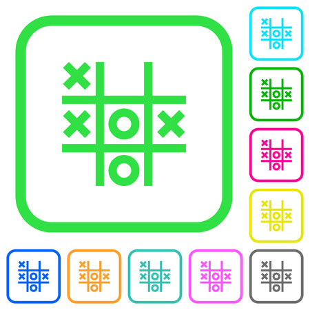 Tic tac toe game vivid colored flat icons in curved borders on white background Stok Fotoğraf - 115033545