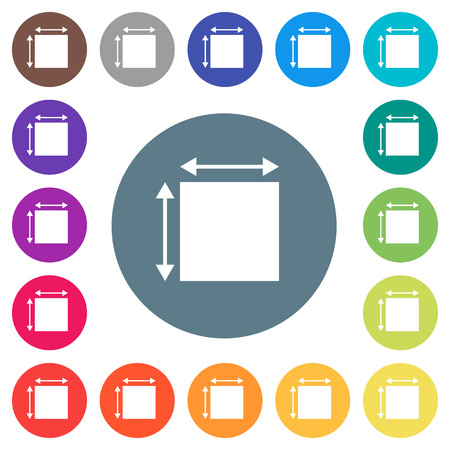 Elemet dimensions flat white icons on round color backgrounds. 17 background color variations are included.