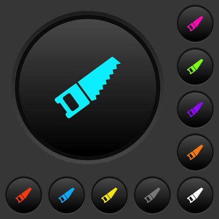 Hand saw dark push buttons with vivid color icons on dark grey background