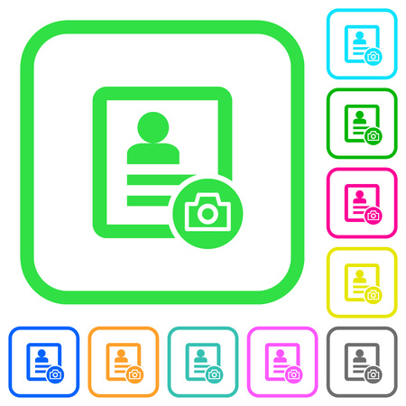 Contact profile picture vivid colored flat icons in curved borders on white background Stock Illustratie