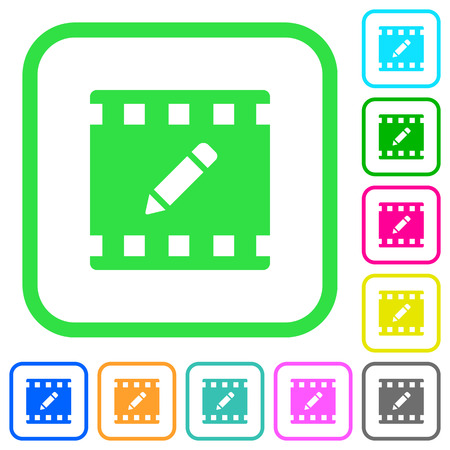 rename movie vivid colored flat icons in curved borders on white background Çizim