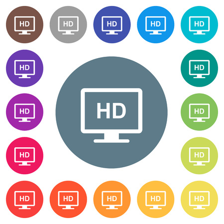 HD display flat white icons on round color backgrounds. 17 background color variations are included.