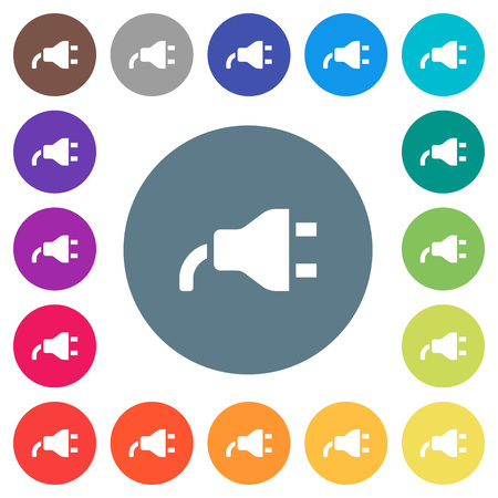 Power plug flat white icons on round color backgrounds. 17 background color variations are included.