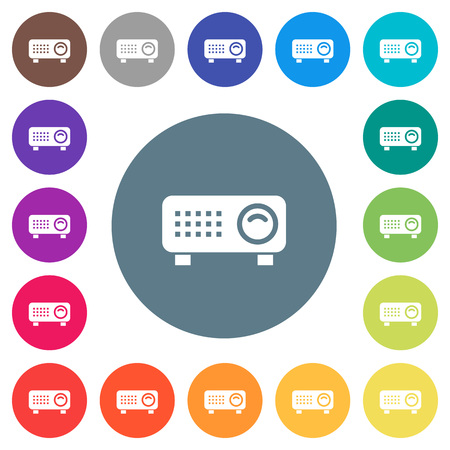 Video projector flat white icons on round color backgrounds. 17 background color variations are included.