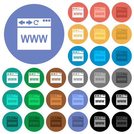 Browser webpage multi colored flat icons on round backgrounds. Included white, light and dark icon variations for hover and active status effects, and bonus shades on black backgounds.