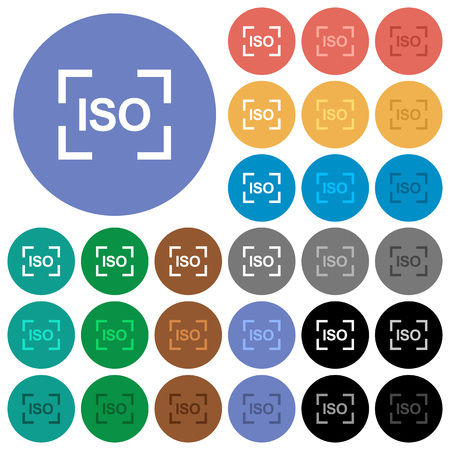Camera iso speed setting multi colored flat icons on round backgrounds. Included white, light and dark icon variations for hover and active status effects, and bonus shades on black backgounds.