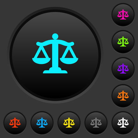Scale of law dark push buttons with vivid color icons on dark grey background