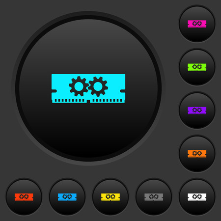 Memory optimization dark push buttons with vivid color icons on dark grey background Çizim