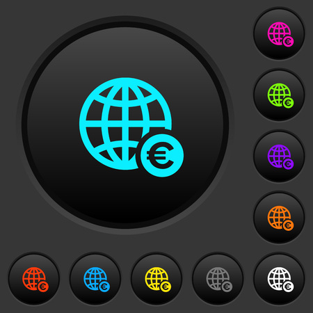 Online Euro payment dark push buttons with vivid color icons on dark grey background