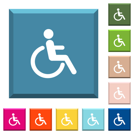 Disability white icons on edged square buttons in various trendy colors