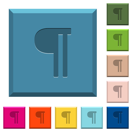 Text paragraph engraved icons on edged square buttons in various trendy colors