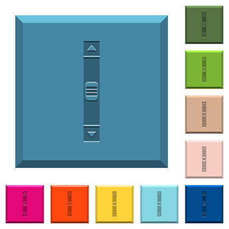 Vertical scroll bar engraved icons on edged square buttons in various trendy colors Vettoriali
