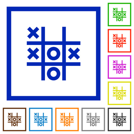 Tic tac toe game flat color icons in square frames on white background