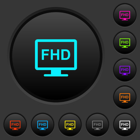 Full HD display dark push buttons with vivid color icons on dark grey background