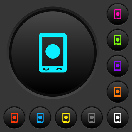 Mobile media record dark push buttons with vivid color icons on dark grey background