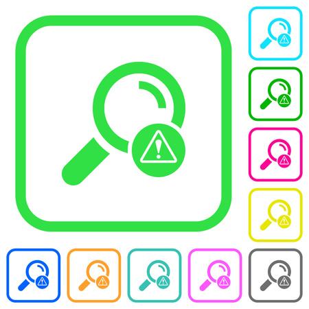 Search error vivid colored flat icons in curved borders on white background Vektoros illusztráció