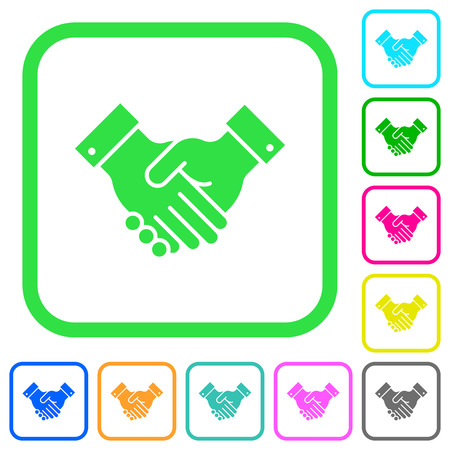 Partnership vivid colored flat icons in curved borders on white background