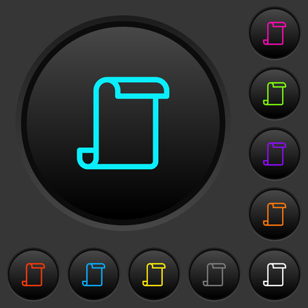 Blank paper scroll dark push buttons with vivid color icons on dark grey background Ilustrace