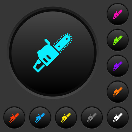 Chainsaw dark push buttons with vivid color icons on dark grey background Foto de archivo - 114949181