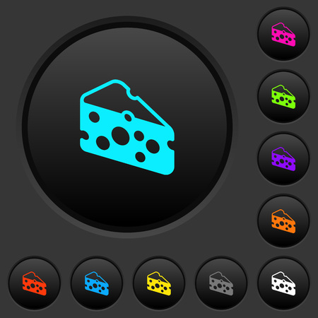 Slice of cheese dark push buttons with vivid color icons on dark grey background Archivio Fotografico - 114866080