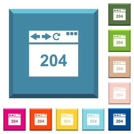 Browser 204 no content white icons on edged square buttons in various trendy colors Illustration