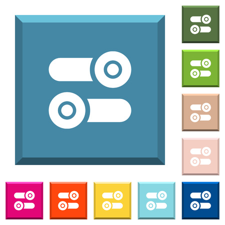 Toggle switches white icons on edged square buttons in various trendy colors
