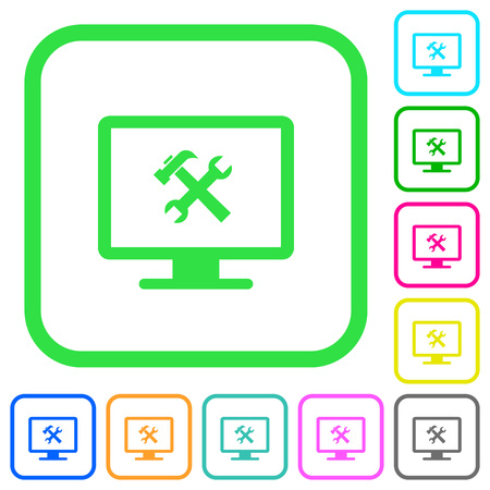 Desktop tools vivid colored flat icons in curved borders on white background Illustration