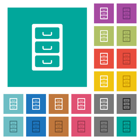 Archive file cabinet multi colored flat icons on plain square backgrounds. Included white and darker icon variations for hover or active effects.