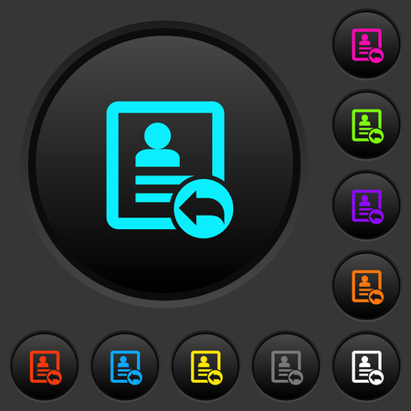Reply contact dark push buttons with vivid color icons on dark grey background Illustration