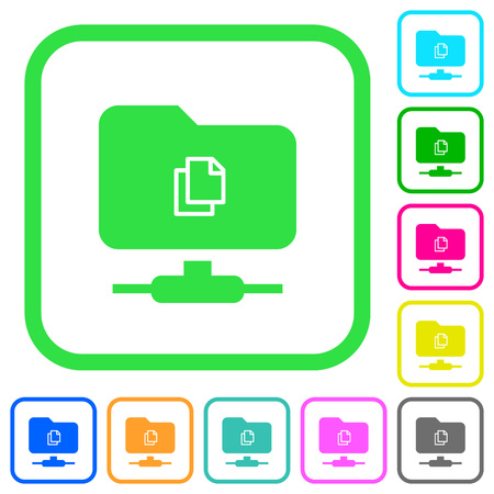 Copy remote file on FTP vivid colored flat icons in curved borders on white background  イラスト・ベクター素材