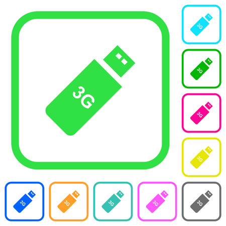 Third generation mobile stick vivid colored flat icons in curved borders on white background