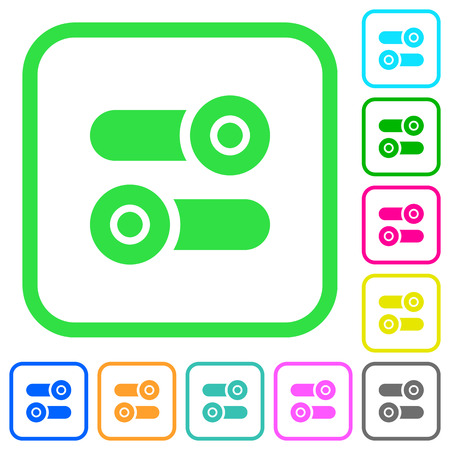 Toggle switches vivid colored flat icons in curved borders on white background