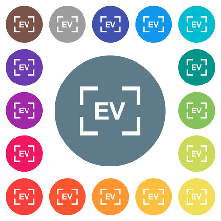 Camera exposure value setting flat white icons on round color backgrounds. 17 background color variations are included. Illustration