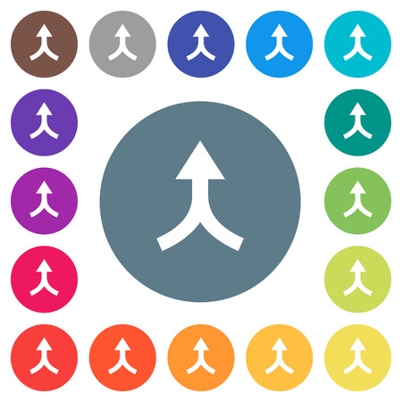 Merge arrows up flat white icons on round color backgrounds. 17 background color variations are included.