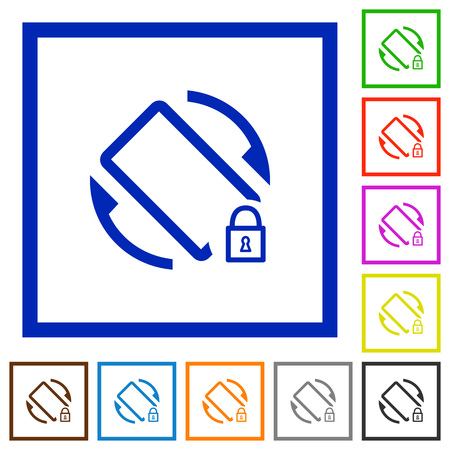 Mobile screen rotation locked flat color icons in square frames on white background Illustration